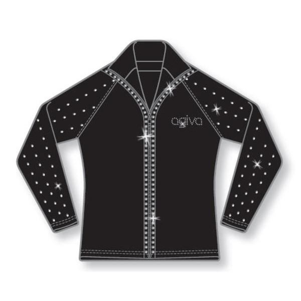 Veste ceintrée en lycra molletonné noir - manches strassées - zip strassé 7bfeac01346